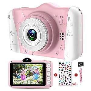 Camara Fotos Infantil - Cámara Fotos Niños con Pantalla Grande de 3,5 Pulgadas 1080P HD 12MP Incorporada Tarjeta SD de 32GB USB Recargable Cámara Digital Selfie Niñas Niños Cumpleaños Navidad Regalos