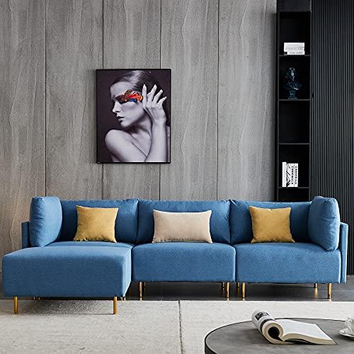 Comfortable Linen Sectional Sofa, L-Shape, 276cm -Bule