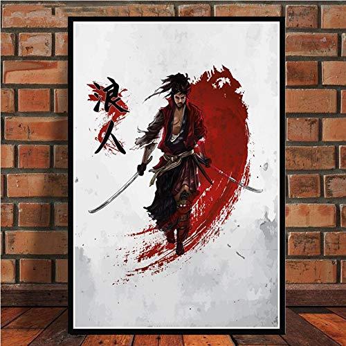 YuanMinglu Japanische Bonsai Bushido Samurai Kanji Anime Abstrakt Poster und Drucke Kunstwandbild Rahmenlos 60x80cm