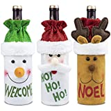 Ebeet Christmas Wine Bottle Cover 3pcs, Handmade Wine Bottle for Christmas Party Decorations