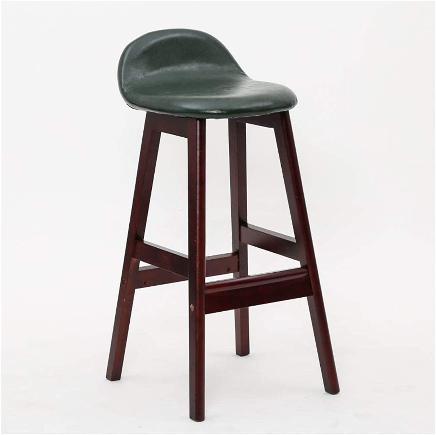 A+ Solid Wood Dining Chair with Backrest, Natural Wood Grain color High Chair, Vintage High-Elastic Sponge-Filled Bar Stool, 4 colors (color   Bronze)