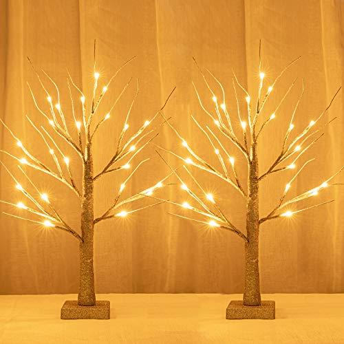 Sunnyglade 2PCS 2Ft 24 LED Birch Tree Light Fairy Tree Bonsai Tree Light Warm White for Home Wedding Festival Party Christmas Decoration (Golden)
