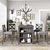 Life In Color 5-Piece Dining Room Table Set, Compact Bar Pub Table Set, Height Rustic Farmhouse Wooden Dining Room,Perfect for Small Kitchen Dining Room (Gray+Wood+1table+4chairs)