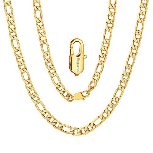 ChainsPro Figarokette Männer Gold Kette 6mm Breit Edelstahl Figarokette (1+3 Rhodiniert Kette Personalisiert Klassische Herren Kette 20