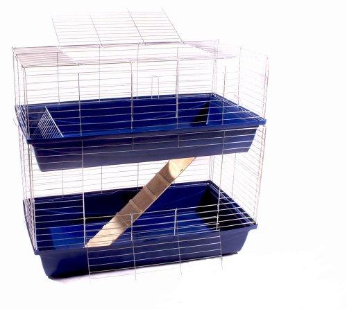 Hasenkäfig Kaninchen Meerschweinchen Nagerkäfig Kleintier 2 Ebenen 1m Doppel blau