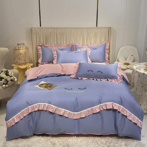 Funda De EdredóN 90,Bordado de primavera y verano Princess Windbrock Suministros, Habitación infantil Dormitorio El edredón es una cama individual con una sola funda de almohada antiestática, adecuad