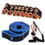 Stretching Band,Cinturino per Esercizi Cinghia Yoga Cinturino di Resistenza con 8 Loops Cintura per la Ginnastica Elastico Fasce per Fitness, Pilates, Fisioterapia, Stretching(2 Pezzi)