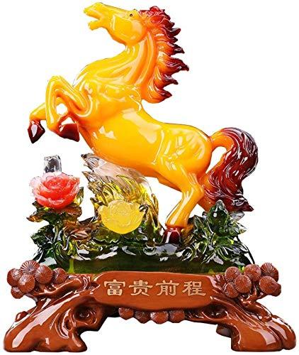 Living Equipment Estatua de Feng Shui Coleccionable Figura Éxito Adornos de Caballo Escultura Oficina en casa Inauguración de la casa Felicitaciones Decoración Regalo Amarillo Color: Amarillo (Colo