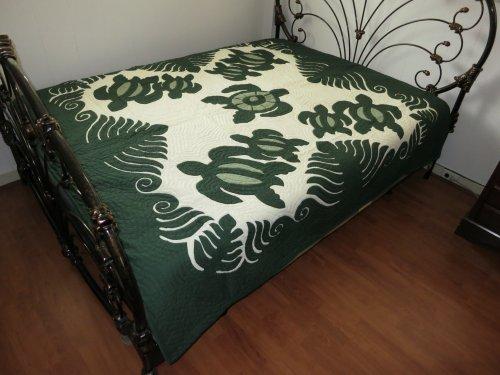 Great Deal! Hawaiian Quilt 100% Hand Quilted/Hand Appliqued Full/Queen Bedspread 80x80 New