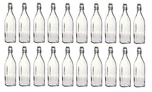 Bormioli Rocco - Lote de Botellas de Cristal con tapón mecánico (20 Unidades, 1 L) Perfectas para elaboración o fermentación de Cerveza casera.