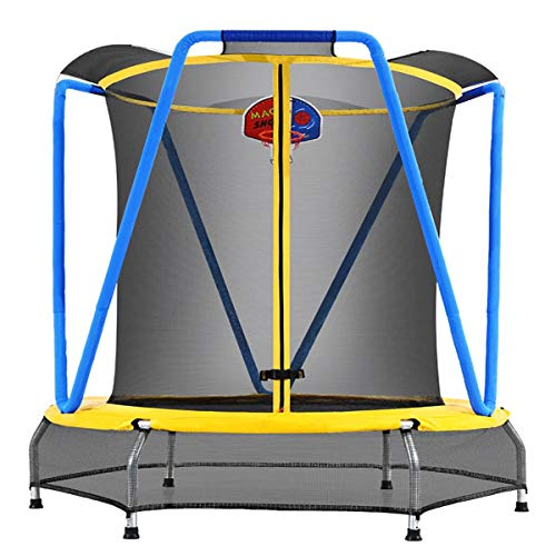 Zupapa 54 inch 66inch Indoor Small Trampoline with Basketball Hoop for Kids Children Mini Toddler Baby Trampolines with Enclosure Net (Blue-Yellow, 54inch)
