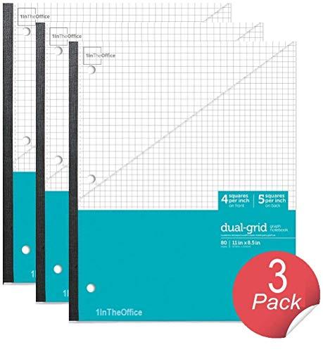 1InTheOffice Graph Ruled Notebook, Graph Wireless Notebook, 8.5
