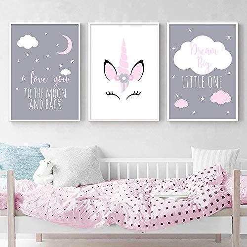 3 Affiches Tableaux Deco Murale Chambre Bebe Enfant Animaux Licorne Citations Nuage Posters Peinture sur Toile Decoration Cadeaux Fille Garcon NPTWC001-L