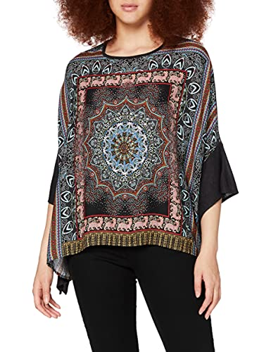 Desigual T-Shirt Ramisha, Camiseta para Mujer, Negro (Negro 2000), Talla única (Talla del Fabricante: U)