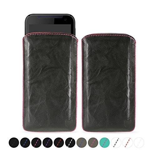 MediaDevil HTC Desire 310 Lederhülle (Schwarz mit pinken Nähten) - Artisanpouch Hülle aus echtem europäischen Leder mit Ausziehlasche