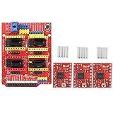 Disfrute de verano Placa de expansión CNC Shield V3, impresora 3D Placa de expansión de grabadora CNC Shield V3 + módulo de controlador A4988 de 4 piezas