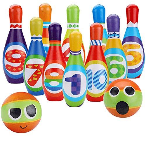 Juegos de bolos infantiles, bolos sólidos 10 botellas de bolos y 2 bolas de bolos, juegos infantiles interiores y exteriores y juegos para adultos, regalos de desarrollo temprano para niños en edad pr