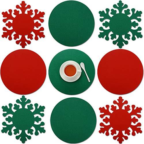 8 Piezas Tapete de Cocina de Navidad Tapete de Cena Tapete d