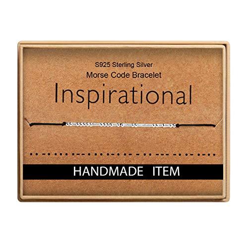 Birthday Gifts for Friends Morse Code Inspirational Bracelet 925 Sterling Silver Handmade Bead Adjustable String Bracelets Jewelry for Women