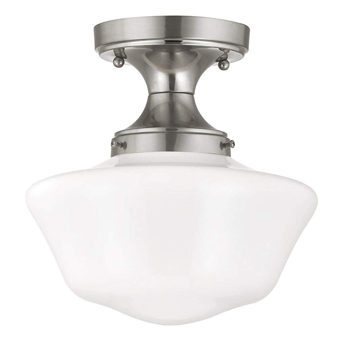 10-Inch Schoolhouse Ceiling Light in Satin Nickel Finish