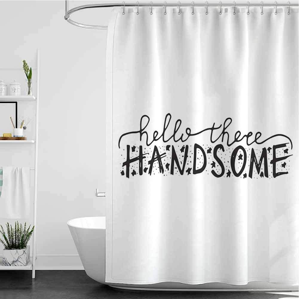 Shower Import Curtains for Kids Bathroom Handsome There Hello unisex Typograph