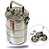 Kerafactum Essenträger Edelstahl Etagen Behälter Transportbehälter mit 1,8 Liter Volumen 3 Box für Essen ideal als Indian Lunchbox Speisenbehälter zum Warmhalten Wärmebehälter Henkelmann