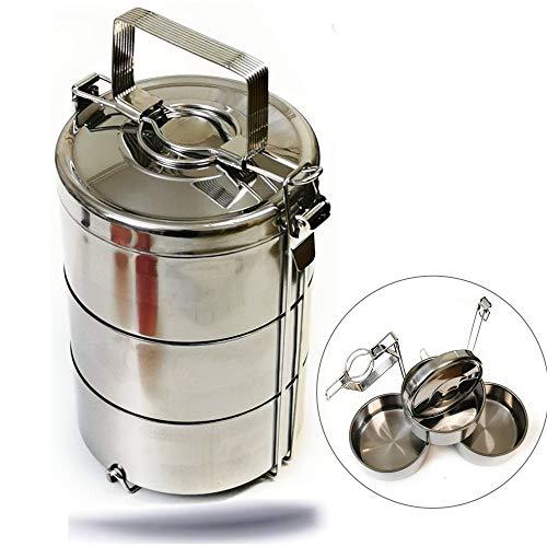 Kerafactum Essenträger Edelstahl Etagen Behälter Transportbehälter mit 2,7 Liter Volumen 3 Box für Essen ideal als Indian Lunchbox Speisenbehälter zum Warmhalten Wärmebehälter Henkelmann