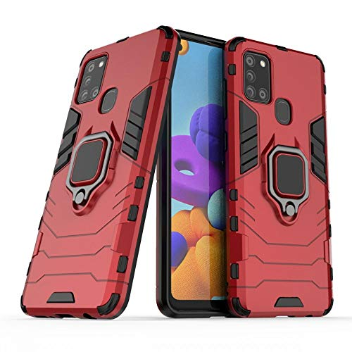 COOVY® Cover für Samsung Galaxy A21s SM-A217F/DS Bumper Case, Plastik + TPU-Silikon, extra stark, Anti-Shock, Stand Funktion + Magnethalter   rot
