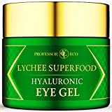 Lychee Superfood Hyaluronic Eye Gel for Natural Firming Puffiness Wrinkles Dark Circles Treatment Under Eye Bags Cream - Anti Aging Hydrating Moisturizing - Anti-Aging Anti Wrinkle Repair Day Night