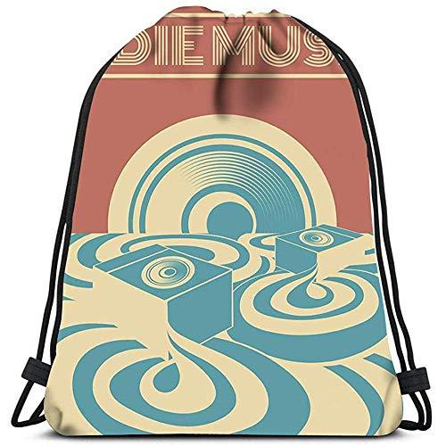 Kordelzug Rucksack Indie Musik Surreal Landscape Sound System Wäschesack Gym Yoga Bag