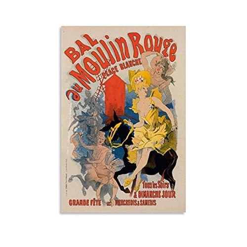 CANCUI Vintage Poster-Bal du Moulin Rouge Affiche d'art de Toile Impression d'art Mural Affiche de décoration de Chambre familiale Cadeau d'anniversaire 16x24inch(40x60cm)