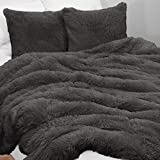KB & Me Boho Chic Bohemian Dark Charcoal Grey Fuzzy Faux Fur Plush Duvet Comforter Cover and Sham 3 pc. Full Queen Size Set Soft Shaggy Fluffy Gray Bedding Bedroom Aesthetic Luxury College Dorm Teen