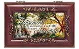 Cottage Garden Retirement Wooded Pond Scene Rose Wood Finish Jewelry Music Box Plays Canon in D