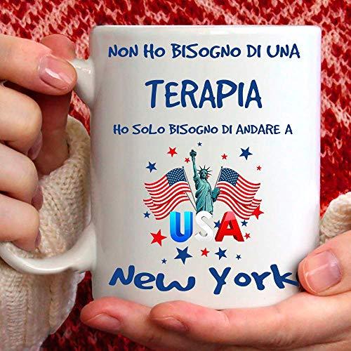 Taza New York apta para desayuno, té, tisana, café, capuchino. Gadget Taza: Ho Solo tienes que ir a Nueva York. Idea de regalo original