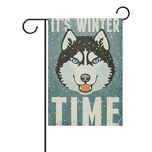 coosun hiver poster avec Husky Polyester Drapeau Jardin dans le jardin libre drapeau Home Party Décor, double face, 12 x 18