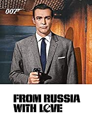 Promotional image for From Russia with Love showing Sean Connery as James Bond in suit shooting a gun