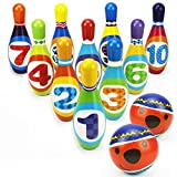 iPlay, iLearn Kids Bowling Toys, Party Favors, Foam Ball Play Set, Indoor Sport Game, 10 Pins, 2...