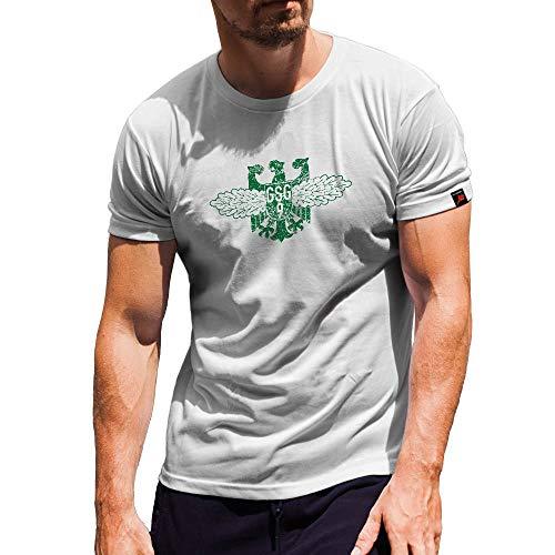 Bundespolizei Abzeichen BPOL Polizei Bundesgrenzschutz GSG9 - T Shirt #15330, Größe:Herren L, Farbe:Weiß