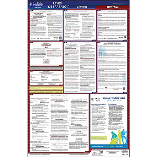 2021 Montana State and Federal Labor Law Poster (Spanish, MT State) - OSHA Compliant All-in-One Laminated Poster - J. J. Keller & Associates