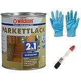 2 in 1 Hartlack Parkettlack, Grundierung und Lackierung inkl. 1 Pinsel von E-Com24 und Nitrilhandschuhe 750 ml glänzend