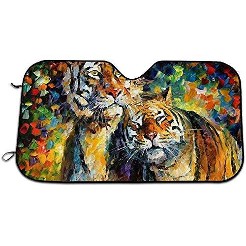 Beth-D twee tijgers knuffelen auto voorruit vizier, zon schaduw gordijnenUV bescherming voorruit zon vizier isolatie zon Shield 147X118CM