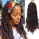 18 Inch 6 Pack New Soft Locs Curly Wavy Goddess Locs Crochet Braids Twist Hair Pre-Looped Most Natural Deep Faux Locs Crochet Hair Braids Twist Synthetic Faux Locs Braiding Hair Extensions T30#