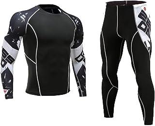 JKoYu Men's Sports Workout Shorts 2Pcs/Set Men Printed Tracksuit Compression Shirt Pants Workout Rashguard Tights