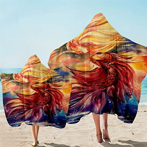 Toalla con capucha Goldfish Toalla de baño con capucha para niños adultos Koi Wearable toalla de playa acuarela Art Serviette
