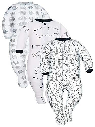 Sibinulo Jungen Mädchen Baby Schlafstrampler Kleinkind, 0-3 Monate 100% Baumwolle Babykleidung Set 3er Pack Weiße Hunde, Gr, Sch. Elefanten 62