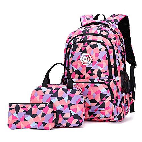 mochilas escolares con lonchera y estuche para niñas Niños adolescentes, niños estudiantes Mochila impermeable para libros 7-16 años 2-6 grado escuela primaria/secundaria mochila (black,DL)