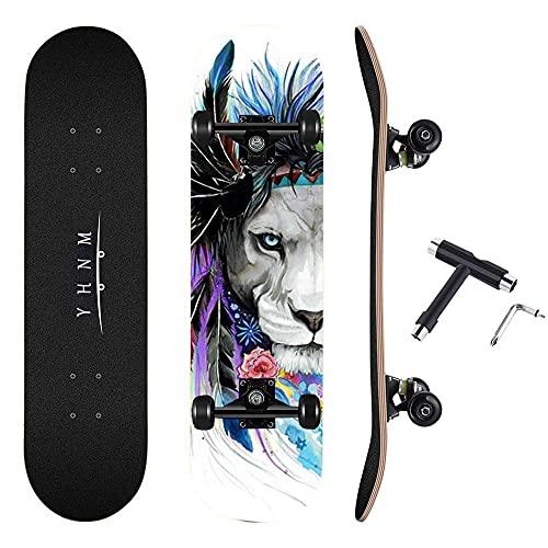 REWE Skateboard Cruiser para Principiantes,31 'león Pintado,Monopatín de Madera de Arce Niñas Niños Adolescentes Adultos patineta Tabla de Surf de Skate
