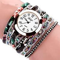 ZJL Watches DCFT D048ナショナルスタイルサークルブレスレットクォーツ時計(ブラック) (Color : Black)