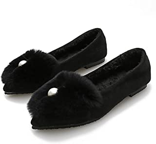 Women's Moccasin Flat Shoes Fur Lined Slip On Loafers Casual Pointed Toe Flats Bling Rhinestone Walking Shoes