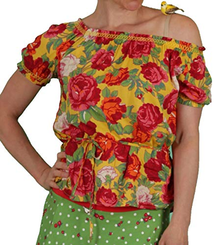 Blutsgeschwister Pennys Blouse Blusen-Shirt auffälliges Damen Sommer-Shirt Tunika Ausgeh-Shirt Schulterfrei Bunt, Größe:L
